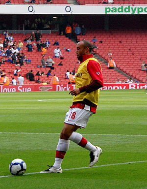 Mikaël Silvestre - Silvestre warming up before an Arsenal match.