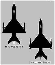 Mikoyan-Gurevich Ye-152 and Ye-152M top-view silhouette comparison