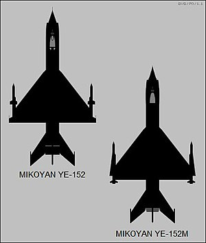 Mikoyan-Gurevich Ye-150 family - Plan view silhouettes of the Ye-152 and Ye-152M