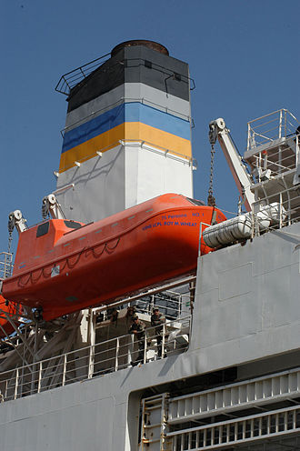 Military Sealift Command - MSC ships are identified by the blue and gold stripes on their stacks.