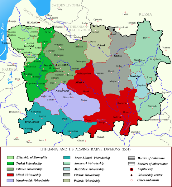 Vaizdas:Minsk Voivodeship within Lithuania in the 17th century.png
