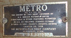 International Harvester Metro Van - Metropolitan Body Co. manufacturer plate located next to IHC build plate above passenger side front window