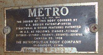 International Harvester Metro Van - Metropolitan Body Co. manufacturer plate located next to IHC build plate above passenger side front window
