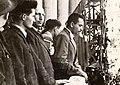 Miting în Piața Universității organizat cu ocazia intrării trupelor sovietice în București, 30 aug. 44. Ceaușescu, Răcoasa.jpg