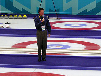 Curling at the 2002 Winter Olympics - Mitt Romney, CEO of the Salt Lake Organizing Committee, offers remarks before a curling event.