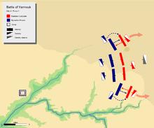 jour 2 carte de bataille phase 1, montrant les ailes byzantines repoussant les ailes musulmanes respectives.