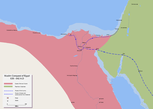 Map detailing the route of the Muslim invasion of Egypt Mohammad adil-Muslim conquest of Egypt.PNG