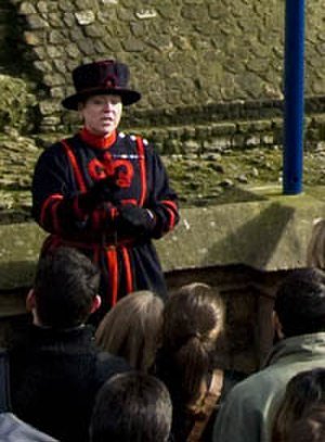 Moira Cameron - Moira Cameron in everyday blue Yeoman Warder uniform at the Tower of London
