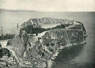 Prince's Palace of Monaco - Illustration 3: The Prince's Palace in 1890 shows clearly a blend of classical facades and medieval fortifications. Due to the modern development of Monte Carlo and growth of flora this uncluttered view of the palace is obscured today.
