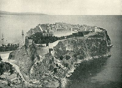 Illustration 4: The Prince's Palace in 1890 shows clearly a blend of classical facades and medieval fortifications. Due to the modern development of Monte Carlo and growth of flora this view of the palace is not possible today.