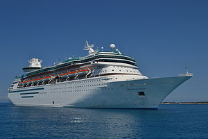 MS Monarch - Monarch of the Seas with Royal Caribbean livery anchored off Coco Cay.