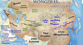 Pax Mongolica - Mongol residual states and domains by the 15th century