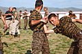 Mongolian service members practice baton techniques during Non-Lethal Weapons Executive Seminar (NOLES) 13 at Five Hills Training Area, Mongolia, Aug. 19, 2013 130819-M-MG222-005.jpg