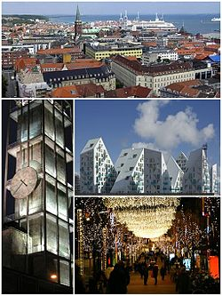Montage of Aarhus - view from city hall, city hall by night, isbjerget, jul på strøget.jpg