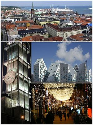From top and left to right: Aarhus skyline, Aarhus City Hall, Isbjerget, Christmas in Aarhus