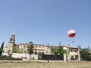 Montecasino - The tethered helium passenger balloon rising over the Montecasino buildings.