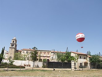 Montecasino - The tethered helium passenger balloon rising over the Montecasino buildings.