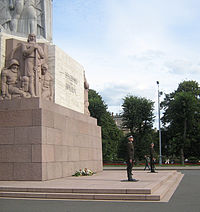 The guard of honor at the foot of the Freedom Monument