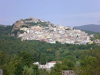 Morcone - An aerial view of the town of Morcone in the Matese Mountains