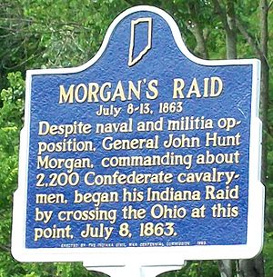 Battle of Corydon - Historical marker at Morvin's Landing, near Mauckport, Indiana