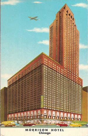 Morrison Hotel (Chicago) - 20th century postcard of the Morrison Hotel.