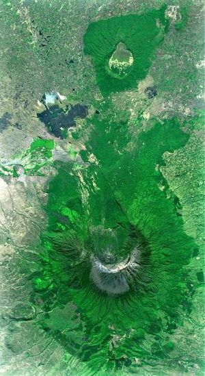 Ngurdoto Crater - Mount Meru volcano and Ngurdoto Crater (image top) from space (East is at the top)