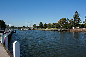 Moyne River - The wharves and harbour on the Moyne River at Port Fairy