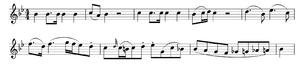 Piano Concerto No. 18 (Mozart) - The principal theme of the concerto's first movement, shown here through the opening eight measures of the first violin part.