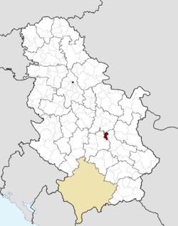 Location of the municipality of ?i?evac within Serbia