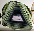 Museo di mineralogia, trasperenze, liddicoatite dal madagascar 1.JPG