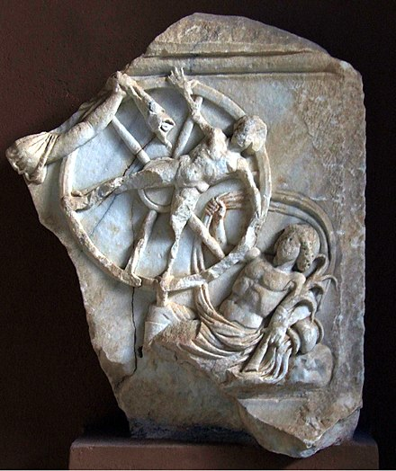 Marble relief from the first or second century showing the mythical transgressor Ixion being tortured on a spinning fiery wheel in Tartarus. Epicurus taught that stories of such punishment in the afterlife are ridiculous superstitions and that believing in them prevents people from attaining ataraxia. Museum of Side 029.jpg