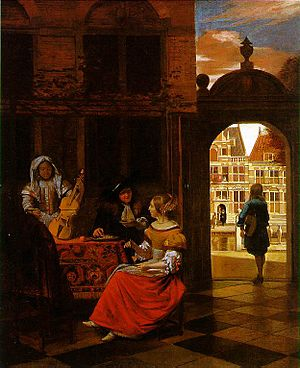 1677 in art - Image: Musical Party in a Courtyard by Pieter de Hooch