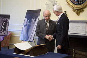 Robert M. Edsel - Archivist of the United States Allen Weinstein with Edsel after the donation of Nazi photograph albums.