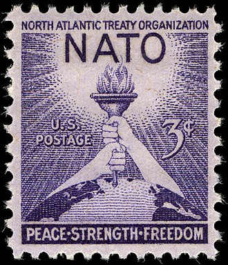 NATO - A 1952 U.S. postage stamp commemorating the third anniversary of NATO.  Stamps honoring the organization were issued by many member countries.