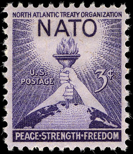 A 1952 US postage stamp commemorating the third anniversary of NATO. Stamps honoring the organization were issued by many member countries.