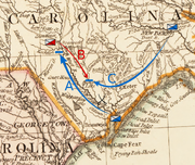 Moore moves from Wilmington, in the southeast of the state, northwest toward Cross Creek in the south central part of the state. Caswell moves south from New Bern, inland from the middle of the North Carolina coast, toward Corbett's Ferry. MacDonald moves over the Cape Fear River and then southeast toward Corbett's Ferry.