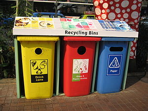 Recycling bins usually include one for glass a...