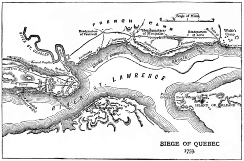 Map of the Quebec City area showing disposition of French and English forces. The Plains of Abraham are located to the left.