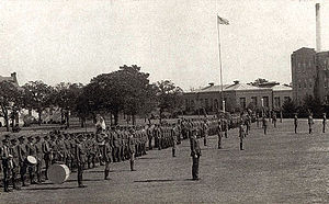 University of Texas at Arlington - NTAC Corps of Cadets on the campus quad, 1920s.