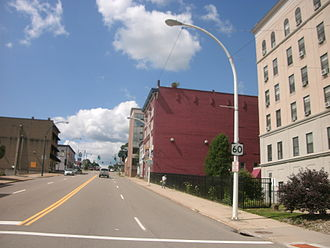 New York State Route 60 - NY 60 northbound continues through downtown Jamestown, now known as Washington Street, approaching NY 394