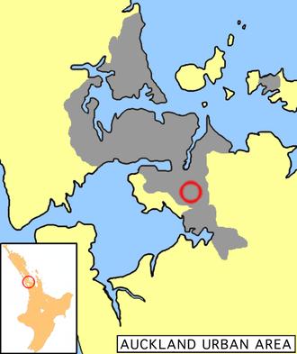 Papatoetoe - Papatoetoe's location in Auckland.