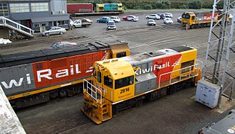 New Zealand DH class locomotive - DH 2816, DH 2839 at Westfield in Auckland.