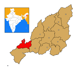 Dimapur district's location in Nagaland