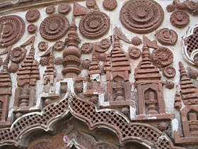Terracotta carvings on a Nanoor temple wall