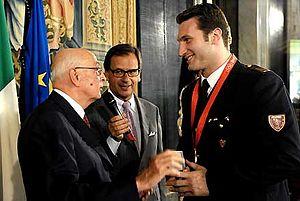 Roberto Cammarelle - Roberto Cammarelle with the President of the Italian Republic, Giorgio Napolitano