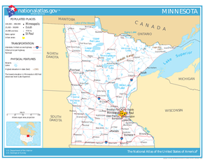 Geography of Minnesota - Minnesota, showing major roads, railroads, and bodies of water