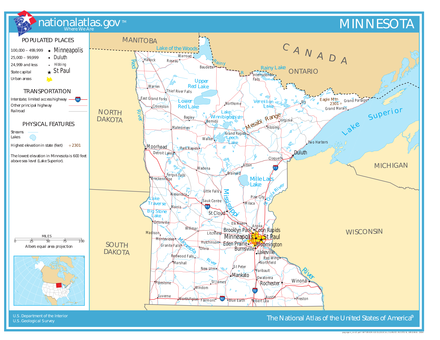 Minnesota, showing roads and major bodies of water National-atlas-minnesota.png