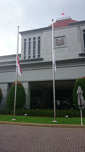 Death of Lee Kuan Yew - State and Government Flags flying at half-mast at Parliament House