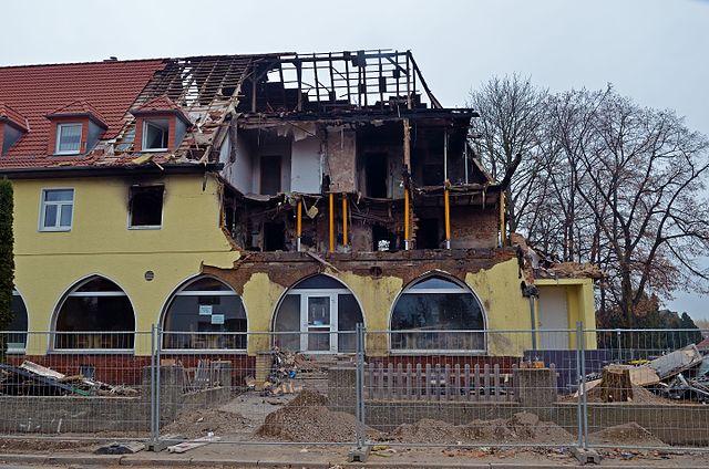 Zerstörtes Haus, letzer Wohnort des NSU