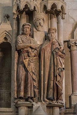 Uta von Naumburg und Markgraf Ekkehard II. Stifterfiguren im Westchor des Naumburger Doms.